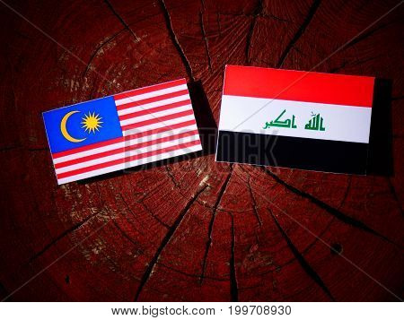 Malaysian Flag With Iraqi Flag On A Tree Stump Isolated