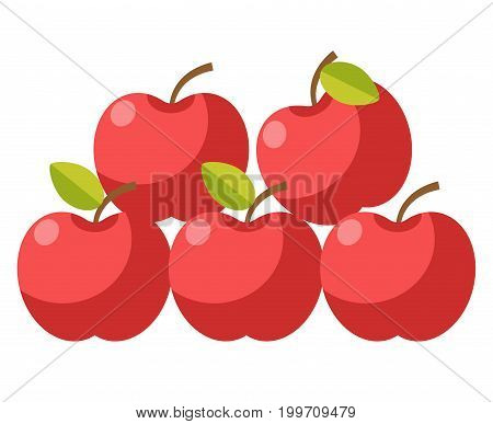 Ripe organic apples with stems and leaves placed one on another in neat heap isolated cartoon vector illustration on white background. Sweet juicy healthy fruit collected from trees at farm.