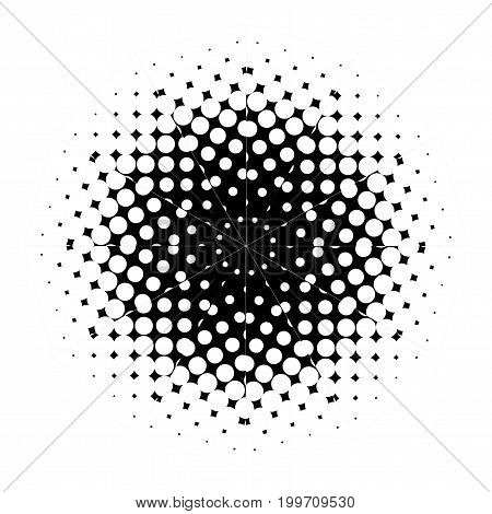 A half tone mandala pattern image with white dots set against a black background