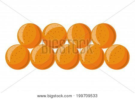 Soft tasty ripe apricots in neat rows isolated cartoon vector illustration on white background. Sweet fruits collected from tree with big kernel inside. Natural food with high level of vitamins.