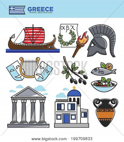 Greece travel tourism landmark symbols and culture famous sightseeing attractions. Greek flag, Athens Pantheon acropolis architecture, Spartan helmet, olives and harp. Vector isolated icons set