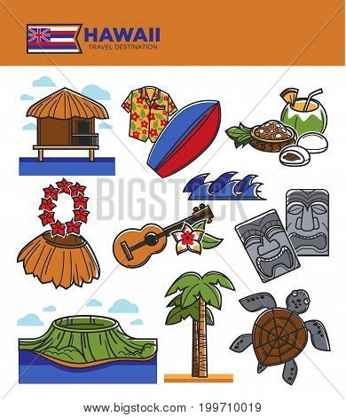 Hawaii travel famous symbols and tourist attraction landmarks or sightseeings. Hawaiian flag, Honolulu aloha dancer guitar and turtle, palm on volcano and shirt for beach surfing. Vector icons set