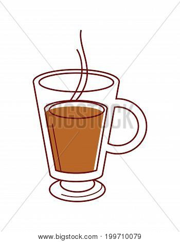 Transparent glass cup with handle of hot coffee with steam that comes out isolated cartoon vector illustration on white background. Delicious aromatic energetic beverage in elegant mug outline.