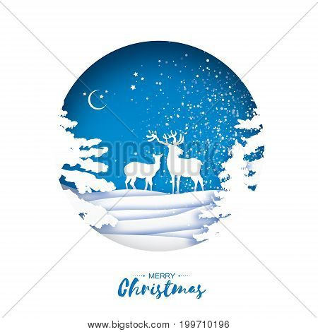 Merry Christmas Greeting card in paper cut style. Snow Winter forest, landscape with deer couple. Blue background. Circle frame. Space for text. Happy New Year holiday. Vector illustration