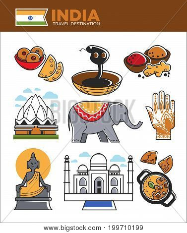 India travel famous landmarks and tourist culture symbols. Indian flag, Taj Mahal or Lotus temple and Ganesha elephant, Hindu goddess, traditional food and henna hand. Vector isolated icons set