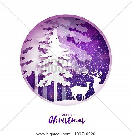 Merry Christmas Greeting card in paper cut style. Snow Winter forest, landscape with deer couple. Polygonal purple background. Circle frame. Space for text. Happy New Year holiday. Vector illustration