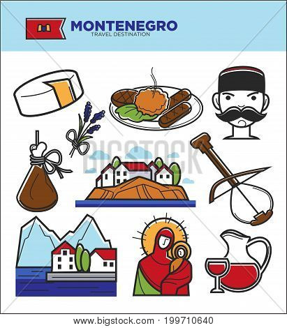 Montenegro travel tourism famous landmark symbols and tourist culture sightseeing attractions. Montenegrin flag , wine drink and cheese food or traditional musical instruments. Vector isolated icons