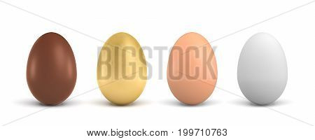 3d rendering of four eggs of different colors, a chocolate, a golden, a brown and a white one. Life diversity. Different but similar objects. Egg types.