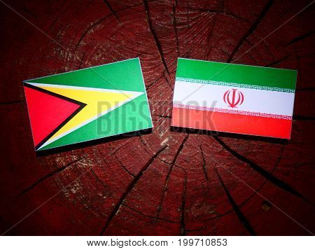Guyana Flag With Iranian Flag On A Tree Stump Isolated