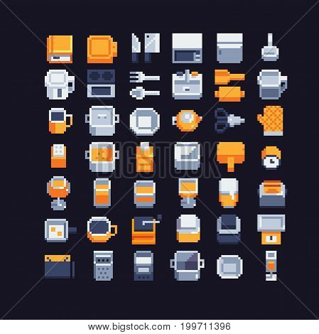 kitchen utensils pixel art icons set, vector illustrations. complementary colors.