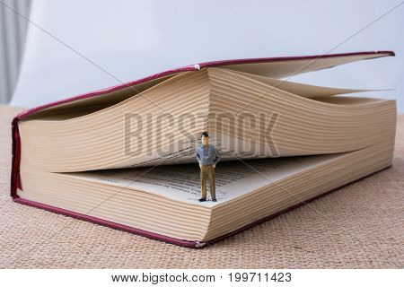 Figurine Standing Inside The Pages Of A Book