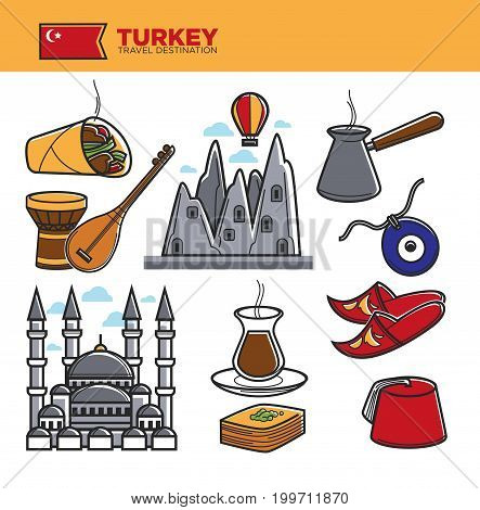 Turkey travel landmark symbols or tourist culture attractions or sightseeings. Turkish flag on mosque, shoes and coffee cezve, doner kebab or baklava pastry and Cappadocia rocks. Vector isolated icons