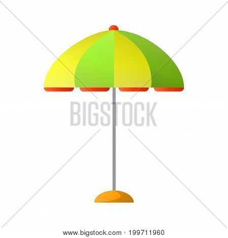 Summer striped umbrella of yellow and green colors on metal stick to create shade in hot day isolated cartoon vector illustration on white background. Device for protection from ultraviolet rays.
