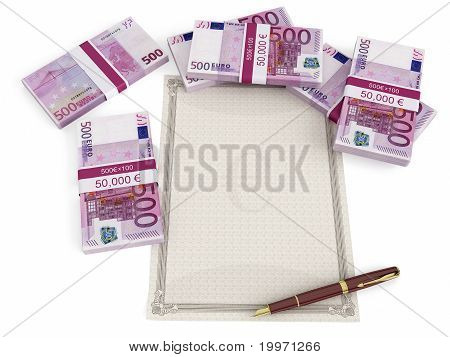 Euro banknotes around a blank document