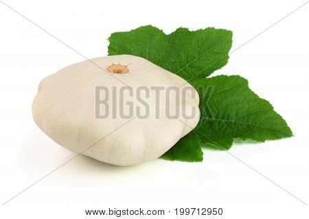 Patty pan Squash with leaf isolated on white background. Pattypan.