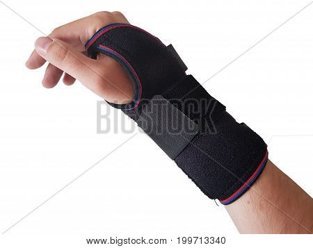 Black wrist splint for right hand male model. isolated white background
