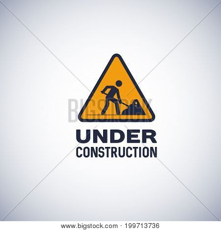 under construction sign, isolated vector icon. yellow color triangle shape sign