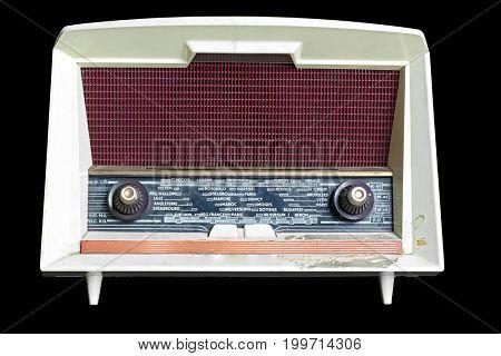 vintage radio isolated on black background