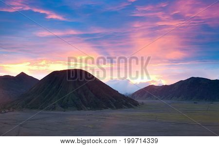 Panorama Batok Volcano at Bromo Mountain Region National Park East Java Indonesia at Dusk