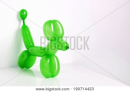 Simple green twisted balloon animal dog on white. Toy of balloons, free space for text. Balloon art