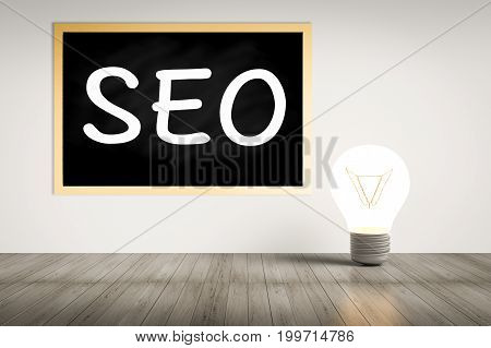 3d rendering seo text on blackboard with idea lightbulb