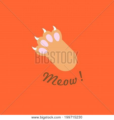 cat paw with Meow! headline, flat design vector