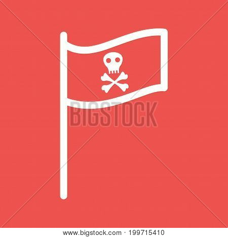 Pirate, flag, skull icon vector image. Can also be used for Pirate. Suitable for use on web apps, mobile apps and print media