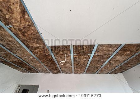 Plasterboard is under construction. Gypsum wall. Plasterboard