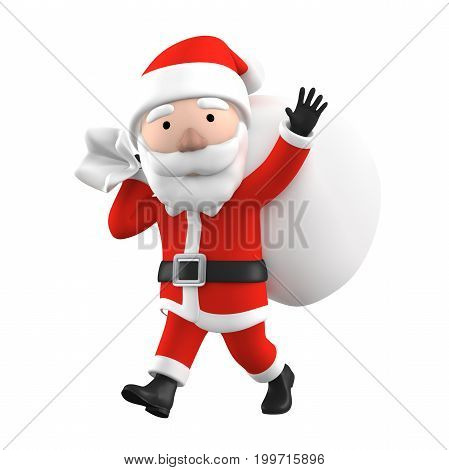 3D Render of Santa Claus, happy christmas icon, funny cartoon Christmas Grandpa, symbol isolated on white background, No shadow