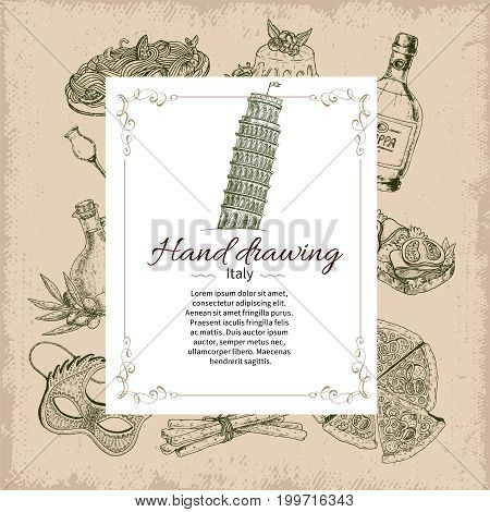Composition of drawn italy icons set with drinks food and rectangular label overlay with editable text vector illustration