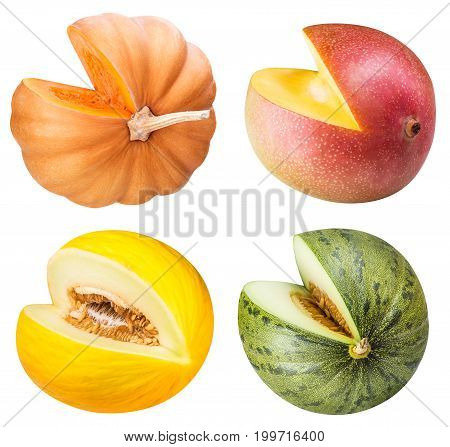 Set of eating fruit and vegetables isolated on white background
