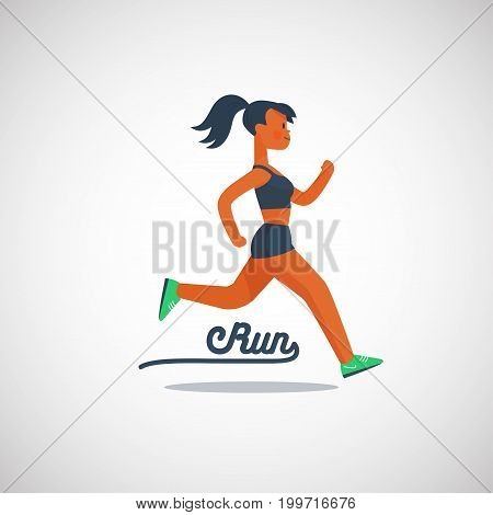 running girl character with ponytail hairstyle, vector illustration logo.