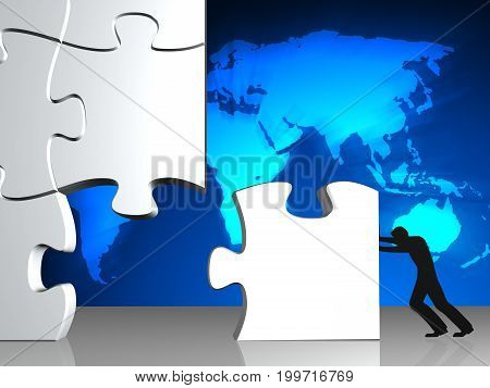 businessman try to put puzzle together on world map background