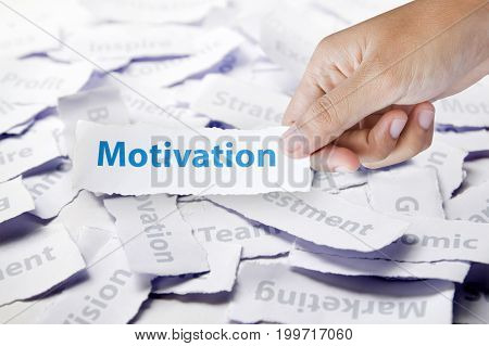 hand holding paper with Word motivation, business concept