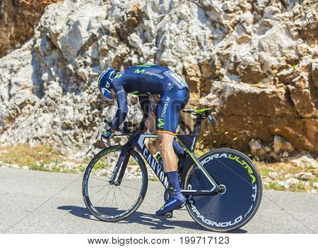 Col du Serre de TourreFrance - July 152016: The Spanish cyclist Ion Izagirre Insausti of Movistar Team riding during an individual time trial stage in Ardeche Gorges on Col du Serre de Tourre during Tour de France 2016.