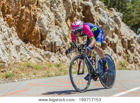 Col du Serre de TourreFrance - July 152016: The Slovenian cyclist Jan Polanc of Lampre-Merida Team riding during an individual time trial stage in Ardeche Gorges on Col du Serre de Tourre during Tour de France 2016.