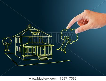 human hand and dream home, drawing, sketch