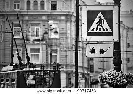 the photo with effect monochrome tone the street sign or the road sign the crosswalk and transition for blind people on the city street