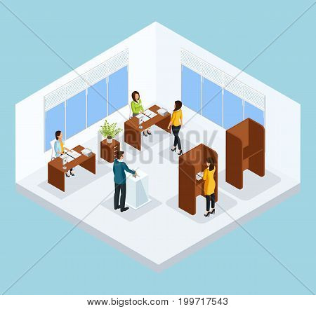 Isometric voting process concept with people electing their candidates on polling station isolated vector illustration