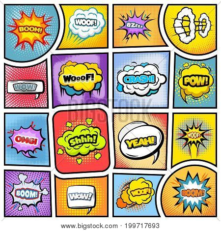 Colorful comic book background with speech bubbles clouds wording explosion dotted halftone and sound effects vector illustration
