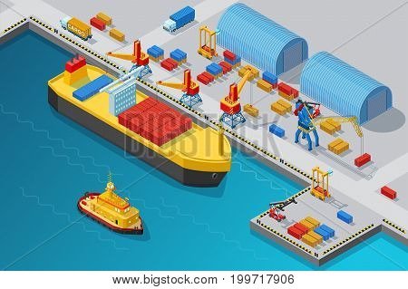 Isometric seaport and dock template with shipment vessel boat cranes storages trucks and containers vector illustration