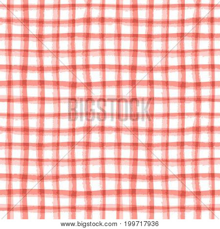 Abstract geometric lined texture. Seamless irregular plaid pattern, persimmon tint. Watercolor background in trendy color.