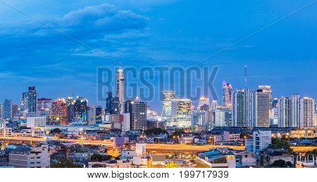 Panorama Bangkok Central Train Station with Skyline cityscape sunset Thailand