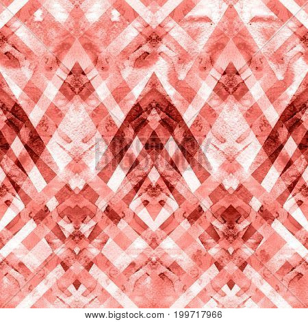 Seamless retro geometric pattern with zigzag lines. Abstract watercolor background.