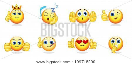 Cartoon bright emoticons collection with hand gestures and different emotions feelings and expressions isolated vector illustration