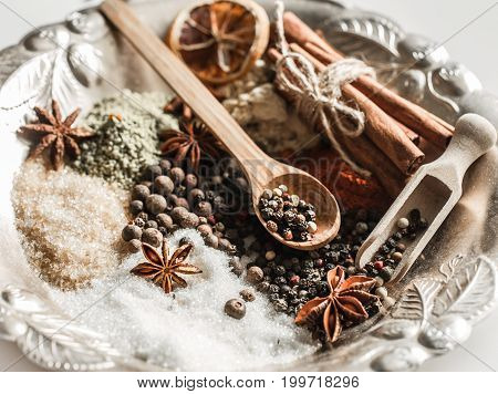 A Variety Of Oriental Spices Closeup
