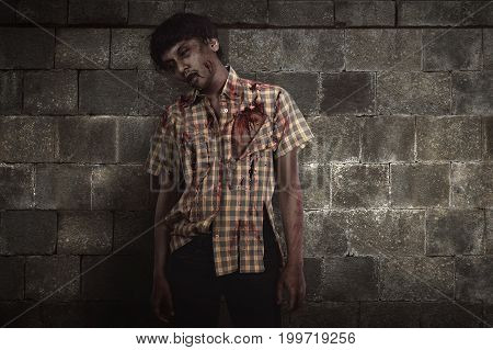 Creepy And Bloody Asian Zombie Man In Clothes Standing