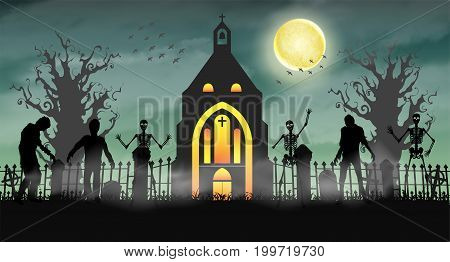 halloween scary zombie in graveyard with church