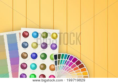 3d rendering color swatch template and chart on yellow background