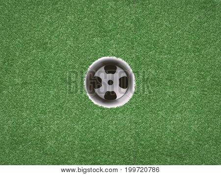 3d rendering empty golf cup on green grass top view